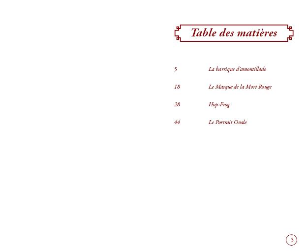 table des matière conte poe