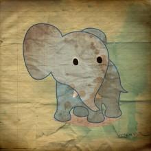 éléphant et papier texturé