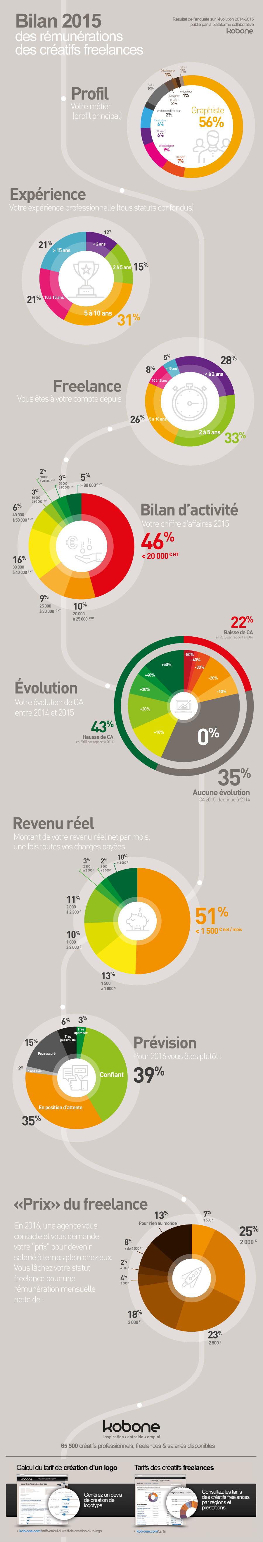 infographie bilan remuneration 2015 des creatifs freelances